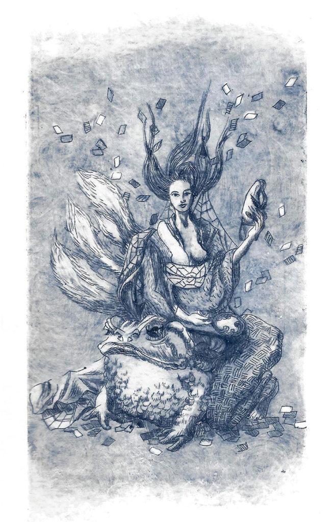 """Gravure numérotée, tirage limité à la pointe à tracer monochrome bleu représentant une femme en kimono, tenant un masque, assise sur un homme crapaud, références au flklore japonais des esprits renards """"Kitsune""""."""