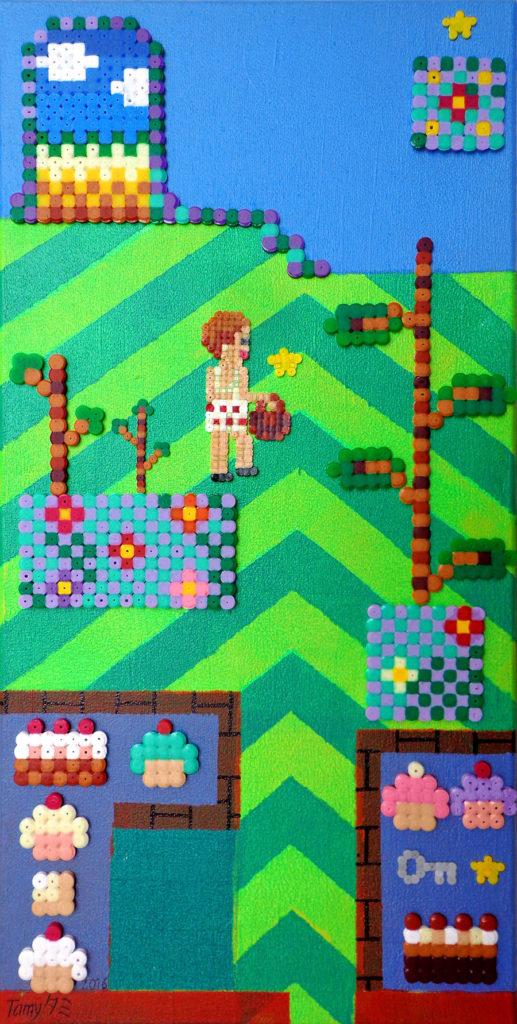 Acrylique sur chassis en pixel art, très coloré, utilisant la technique des perles à repasser, représentant un un petit avatar dans un paysage, en référence aux jeux vidéos rétro japonais.