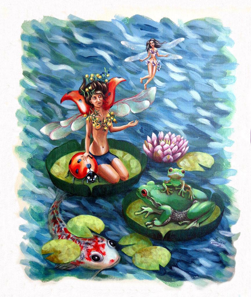 Peinture à l'acrylique représentant un étang avec des femmes fées, des animaux: grenouilles et une carpe Koi sur des nénuphars.