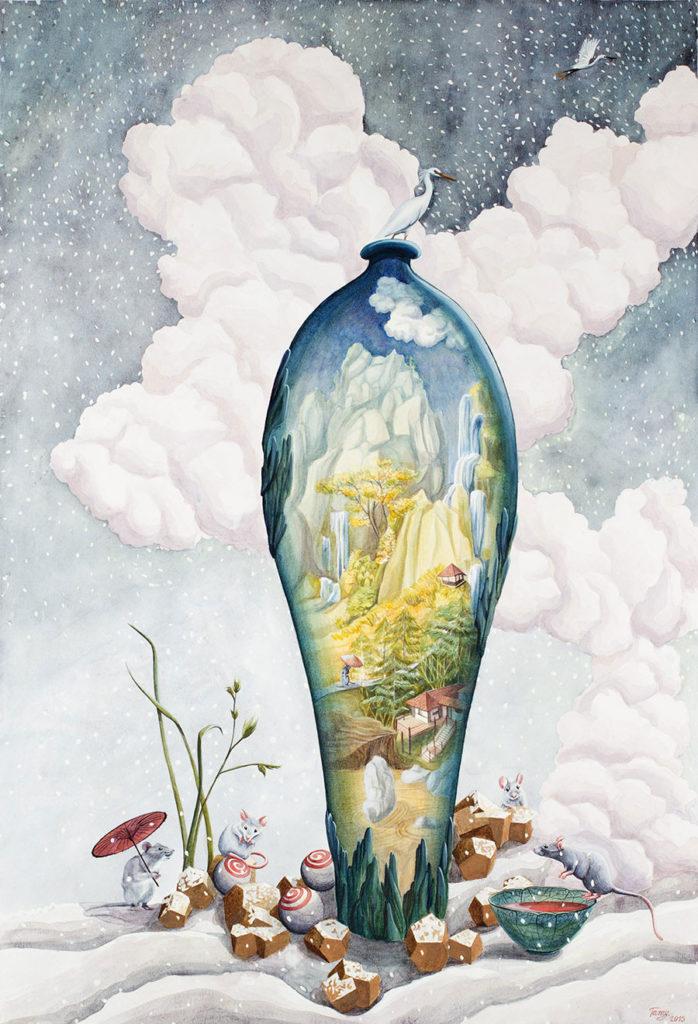 Aquarelle sur papier d'inspiration japonaise représentant un vase sur un fond hivernal de nuages et de neige, entouré de souris, l'intérieur du vase représentant un paysage automnal de montagne.