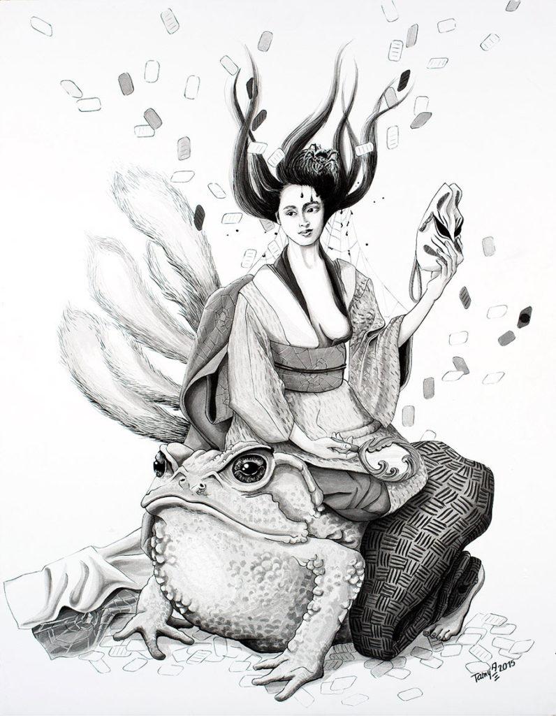 Lavis à l'encre de chine sur bristol représentant une femme enchanteresseen kimono, tenant un masque, assise sur un homme transformé en crapaud, références au folklore japonais shinto de l'esprit du renard Kitusune