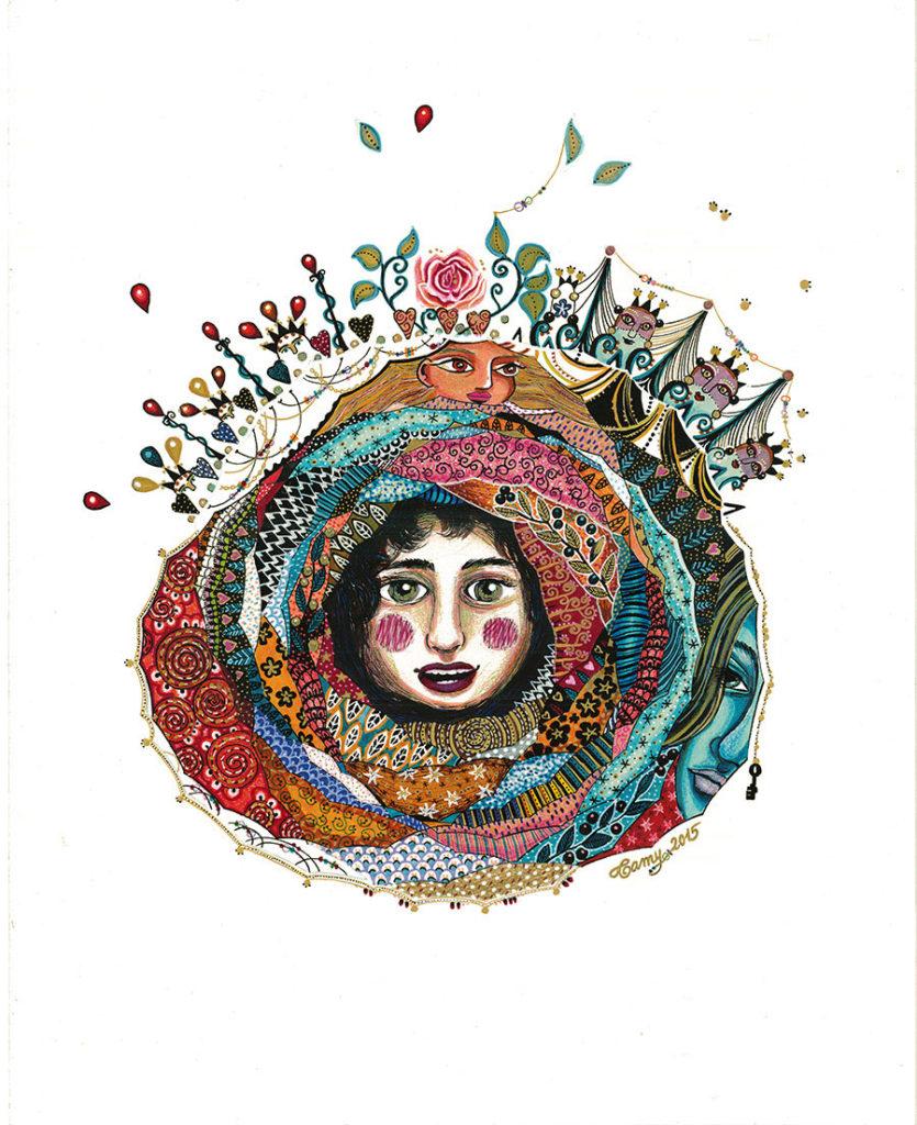 """Dessin au feutre et aux crayons de couleur représentant plusieurs visages et des motifs imbriqués de tissus colorés, des fleurs, référence à la tradition russe des poupées imbriqués dites """"matriochka""""."""