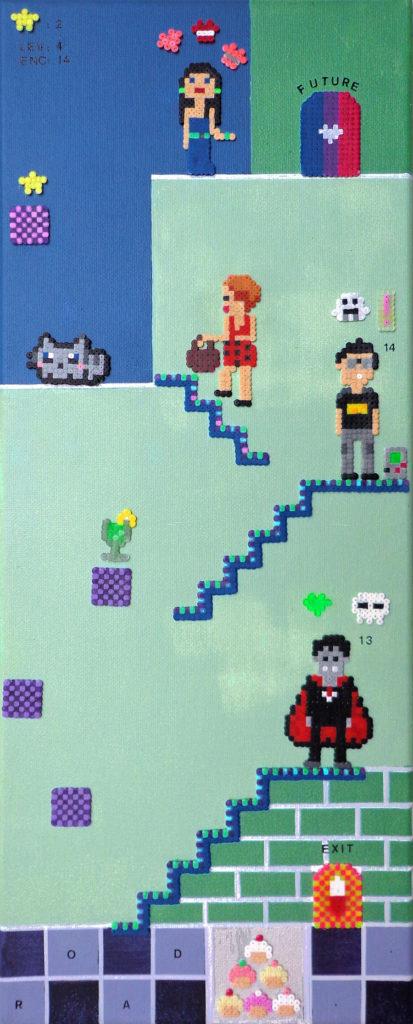 Acrylique sur chassis en pixel art, dans les tons de mauve et de vert turquoise, utilisant la technique des perles à repasser, représentant plusieurs personnage, des niveaux, en référence aux jeux vidéos rétro japonais.