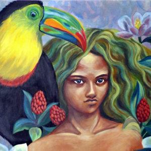 Peinture à l'acrylique sur chassis représentant une femme seins nus à côté d'un toucan et entourée de fleurs de magnolias.