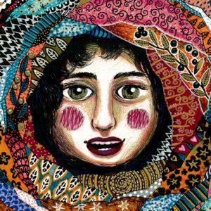 dessin au crayon et feutre, détail, représentant un visage de femme matriochka avec des tissus multocolores et motifs